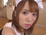 Sweet maid Rika Hoshimi is a true cock sucker and pleaser picture 14