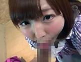 Teen Japanese maid Sakura Kizuna sucks a dick in a POV vid picture 13