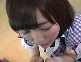 Teen Japanese maid Sakura Kizuna sucks a dick in a POV vid