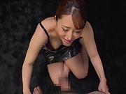 Topnotch Japanese beauty Kururugi Mikan blows a big cock in POV