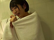 Short-haired Asian girl Fujie Shiho gets titfucked in the bathroom