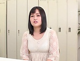 Busty Japanese cougar shows off boobs gets mouth fucked picture 11