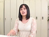 Busty Japanese cougar shows off boobs gets mouth fucked picture 13