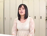 Busty Japanese cougar shows off boobs gets mouth fucked picture 14