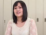 Busty Japanese cougar shows off boobs gets mouth fucked