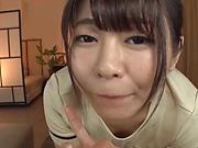 Lusty Japanese girl Koga Matsuna sucking a pecker in a POV vid