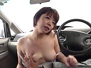 Petite Japanese girlfriend Akase Shouko blows a big cock in a car