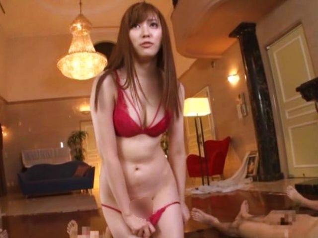 Gorgeous Japanese model Aine Maria in a hot group action