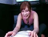 Small-tittied redhead girl Hazuki Reira teases a big dick insanely