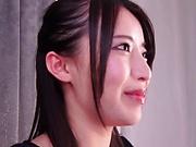 Petite Japanese girl Mochizuki Risa gets a mouthful of semen