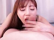 Passionate AV girl Hoshikawa Ririka licking a hard dick in a POV vid