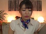 Lovely AV girl Koga Matsuna gets her oiled tits and mouth fucked