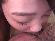 Innocent looking Asian girl Fujitani Maho gets mouth fucked hard