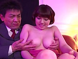 Busty Japanese AV model Arima Mari gets boobs and mouth fucked in pov picture 12