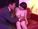 Busty Japanese AV model Arima Mari gets boobs and mouth fucked in pov