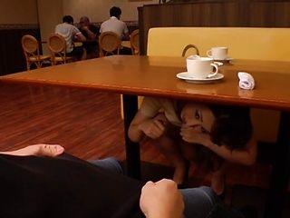 Dirty-minded redhead milf Kururugi Mikan sucks a dick in a public place