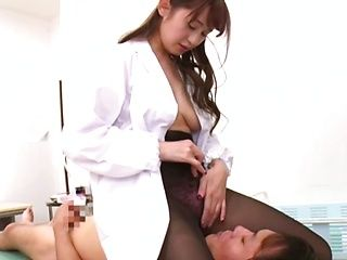 Sexy Japanese nurse likes the taste of dick