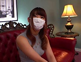 Busty Japanese MILF Hara Kanon takes off her mask and clothes to get banged picture 11