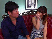 Busty Japanese MILF Hara Kanon takes off her mask and clothes to get banged