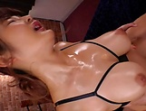 Curvy AV model Hara Kanon gets oiled up and banged hardcore picture 107