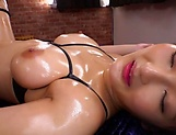 Curvy AV model Hara Kanon gets oiled up and banged hardcore picture 157