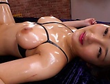 Curvy AV model Hara Kanon gets oiled up and banged hardcore picture 158