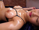 Curvy AV model Hara Kanon gets oiled up and banged hardcore picture 159