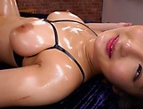 Curvy AV model Hara Kanon gets oiled up and banged hardcore picture 160