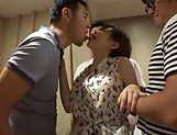 Big--tittied beauty with a shaved pussy Satomi Yuria in a group action