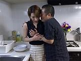 Naked Japanese milf Kimijima Mio fucked hard in the kitchen