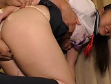 Smiling schoolgirl Kousaka Mirina gets pussy stretched and bonked picture 44