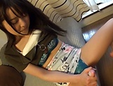 Japanese teen babe gets her nice kitty toyed and banged picture 15