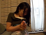 Japanese teen babe gets her nice kitty toyed and banged