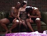 Exquisite milf has interracial threesome