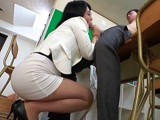 Japanese mature teacher Ichinose Ayame licks a student's ass